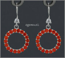 925 Silver Circle Donut Earrings CZ Orange Red #65301