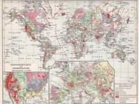 Sudeten Prag Geologische Karte Originale Chromolithographie von 1902 24x16cm M6