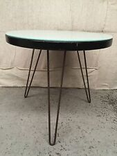 SMALL SIDE OCCASIONAL MILK GLASS TOP ROUND TABLE W Vintage HAIR PIN LEGS Atomic