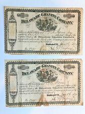 Delaware Granite Company > 1872 Highland New York mining > 2 stock certificates