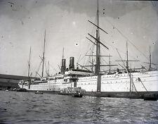 Bateau c. 1900 - Paquebot Voilier Vapeur - Négaitif Verre 12 x 9