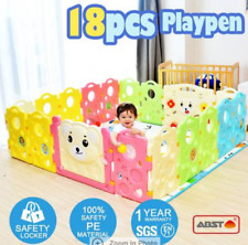 ABST 18-Sided Kids Play Pen Colorful Baby Playpen with Game Panel Run Bear Serie
