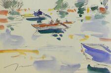 JOSE TRUJILLO Impressionism ORIGINAL Watercolor Painting Boats Fishing Fishermen