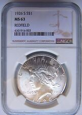 1926 S Peace Silver Dollar NGC MS 63 Redfield Hoard Pedigree Collection Coin