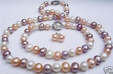 7-8mm White Pink Purple Freshwater Pearl Necklace + Bracelet +Earrings Jewel Set