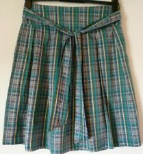 Topshop Blue/Turquoise Check Striped Skirt Size 10 Flared