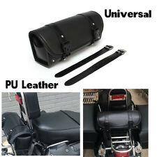 1pcs Roll Black PU Leather Motorcycle Front or Rear Tool Bag Saddle Bags Luggage