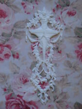 New! Shabby Chic Lg Rose Vase Laurel Leaf Berry Furniture Applique Pediment Flex