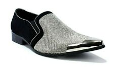 Mens New Diamante Wedding Shiny Slip on Pointy Toe Fashion Shoes UK Size 6-12