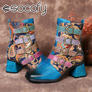 SOCOFY Womens Winter Retro Ethnic Leather Ankle Boots Cowgirl Mid Block Shoe
