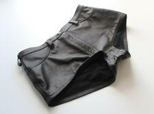 Leather Shorts in Classic Style - Hot Pants Black Size UK 8 EU 36 US 4-6 Petite