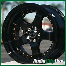 JNC 017 17X9 5-100/114.3 BLACK GOLD RIVET FIT Infinity G35 G37 I30 I35 M35 WRX