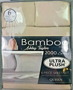 ASHLEY TAYLOR Bamboo Essence / 2000 Series / 6 Piece Deep Pocket Sheet Sets NIB