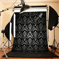 5x7FT Black Backdrop Glitter Photo Background Vinyl Photography Studio Props New