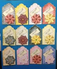 12 GET WELL SOON FLOWER FLORAL TAG CARD MAKING SCRAPBOOKING CRAFT EMBELLISHMENTS