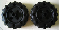 Plastic Tinker Toys Parts Lot: 2 Black Wheels Replacement Pieces Wood Jumbo Set