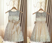 New Elegant Champagne Lace Flower Girl Dress Bridesmaid Party Wedding Pageant