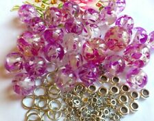 45 x Stunning Resin Purple Crackle  Spacers 16mm  /& 12mm