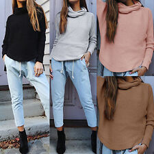 Women Long Sleeve Turtle Neck Loose Knitted Sweater Shirts Jumper Tops Blouse