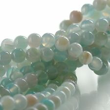 8mm Round BLUE GREEN AGATE Beads, smooth, full strand, 46 beads, gag0358