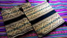 """2 Peruvian Set New Manta Pillow Cover Sofa Decor 15.5"""" x 15.5 """" Lot Peru Black"""