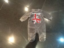Juicy Couture New & Genuine Baby Boys Grey Velour Baby Grow 0/3 MTHS With Logo