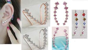 SINGLE ROW EARRING HOOK CUFF PAIR PINK CLEAR MULTI-COL GOLD SILVER PLATE