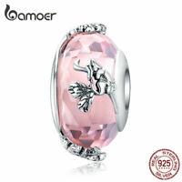 BAMOER Fine S925 Sterling silver Charms Dancing butterfly Pink Bead Fit Bracelet