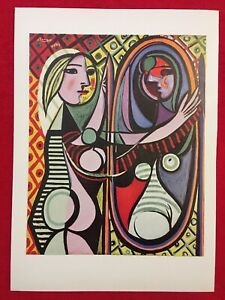 PABLO PICASSO,Girl Before A Mirror Vintage,Offset Lithograph 1946  Plate-signed.