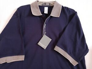 NWT Page & Tuttle Size Large Blue Mens Polo Shirt Golf Casual~Free S&H