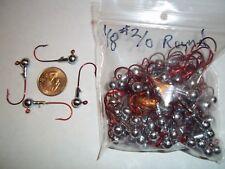 1/8oz #2/0 ROUND LEAD HEAD JIG EAGLE CLAW - RED 100ct