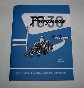 Ferguson TO-30 Operators / Owners Manual, 1951 1952 1953 1954, Massey Ferguson