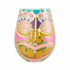 More details for lolita tiki face hand painted decorated cocktail stemless wine glass cup 6004369