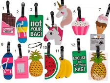 Novelty Bright Coloured Luggage Labels Name Address Suitcase Silicone Bag Tags