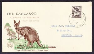 """Australia """"WCS""""  1959 - 9d Kangaroo First Day Cover - Sydney to Newport"""
