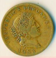 COIN / PERU / 20 CENTAVOS 1953      #WT7362
