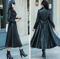 XS-6XL Womens Wind Leather Trench Coat Long Lapel Collar Overcoat Jacket Outwear