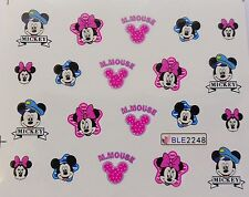 Nail Art Pink Blue Minnie Captain Mickey Bows Girl Nail Water Decal Sticker 2248