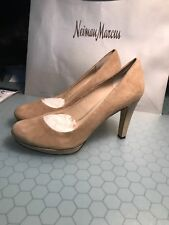 Franco Sarto Luxe Platform High Heel Pump Suede/ Patent Leather Taupe Sz 9 NIB