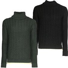 Mens Roll Neck Jumper Soulstar Designer Textured Knitted Turtle Neck Sweatshirt