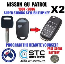 2 NISSAN PATROL GU Y61 COMPLETE CAR FLIP KEYS TRANSPONDER CHIP 1997-2006