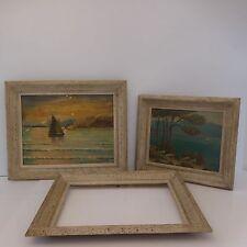 3 cadres 2 peintures à l'huile impressionnistes signées E.MUNS paysages art-déco