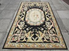 Old Hand Made French Design Wool Black Gold Original Aubusson 253X152cm