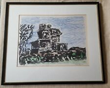 """Framed matted wood block print """"The Haunted House"""" signed by artist"""