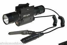 HiLigh 600lm LED Rifle Tactical Flashlight Green Laser Combo Quick Release Mount