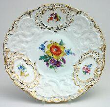 Teichert Meißen Prunkschale Teller Blumenmalerei Relief Goldrand