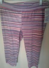Soffe MJS Athletic Workout Pink Striped leggings Pants Jrs Size Large NWT D154