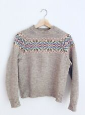 Vintage Classic Women's Shetland Wool Knit Jumper Sweater Grey/Multicolour Small