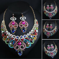 Women Bib Choker Chunky Colorful Crystal Necklace Earrings Bridal Jewelry Sets