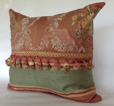 18th Century French Silk Textile Pillow With Silk Tassels